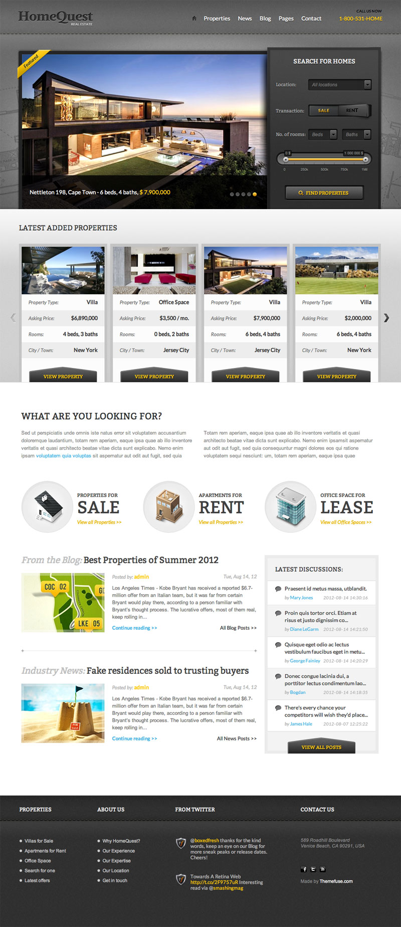 HomeQuest | Real Estate WordPress theme